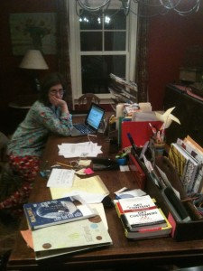 writer at work in home office