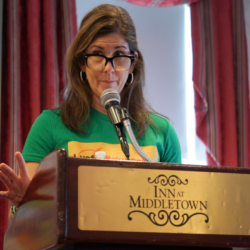 Kate Mayer at CT Voters for Gun Safety conference
