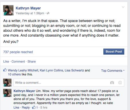Facebook rescues a struggling writer