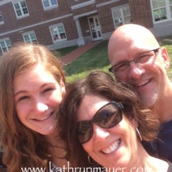 All smiles (sort of) dropping off kid #3 at college freshman year.