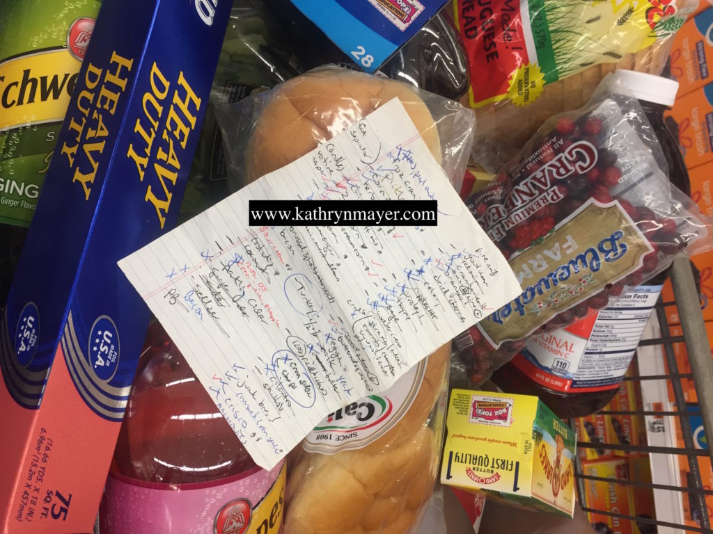 Thanksgiving grocery cart and list