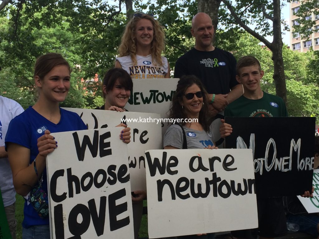 Kate Mayer and family at Moms Demand march for smart safe gun laws Brooklyn NY